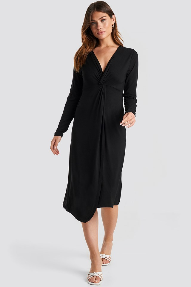 Twist Front Midi Dress Deep Black