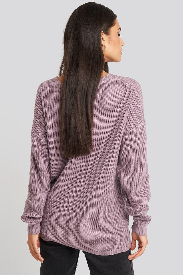 Twisted Front Sweater Purple