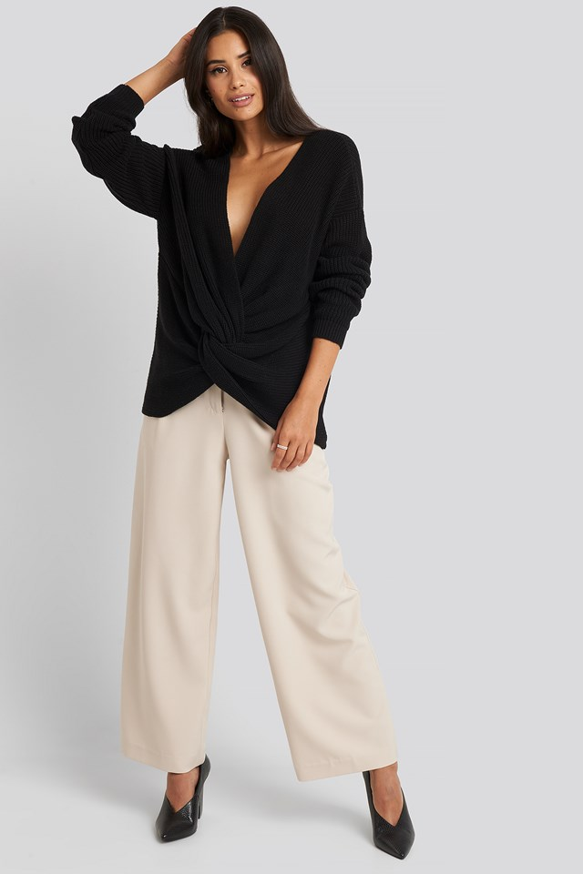 Twisted Front Sweater Deep Black
