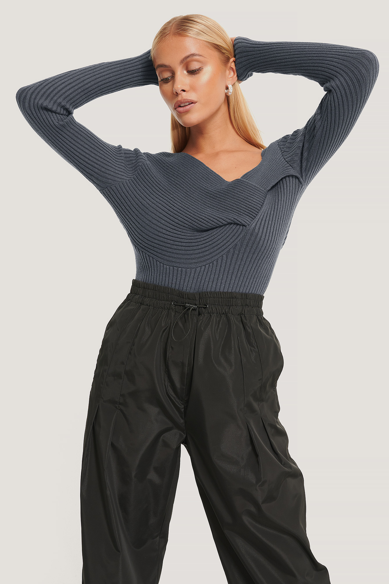 Dark Grey Twisted Front Top