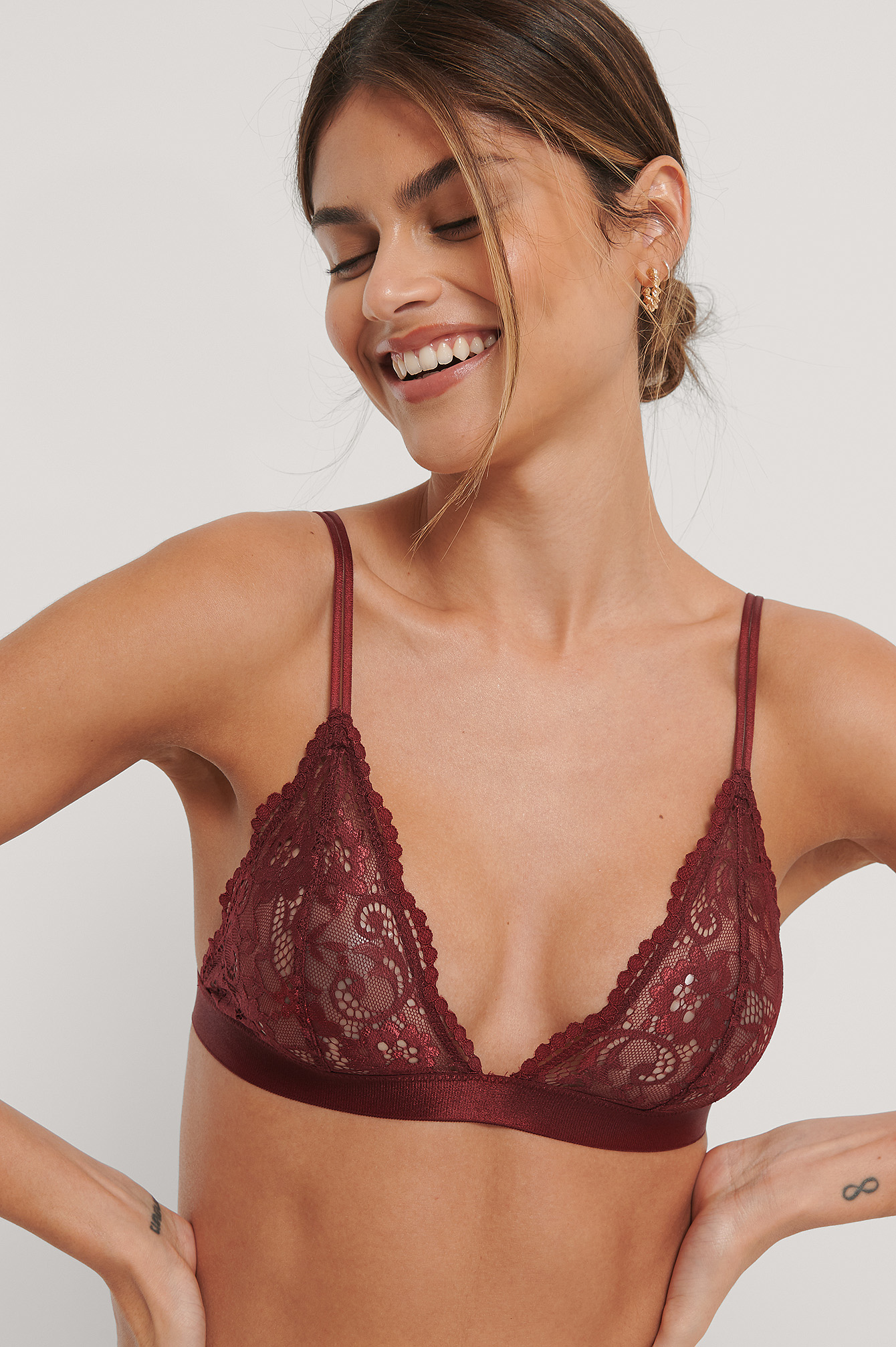 Dark Red Two Strap Lace Bra