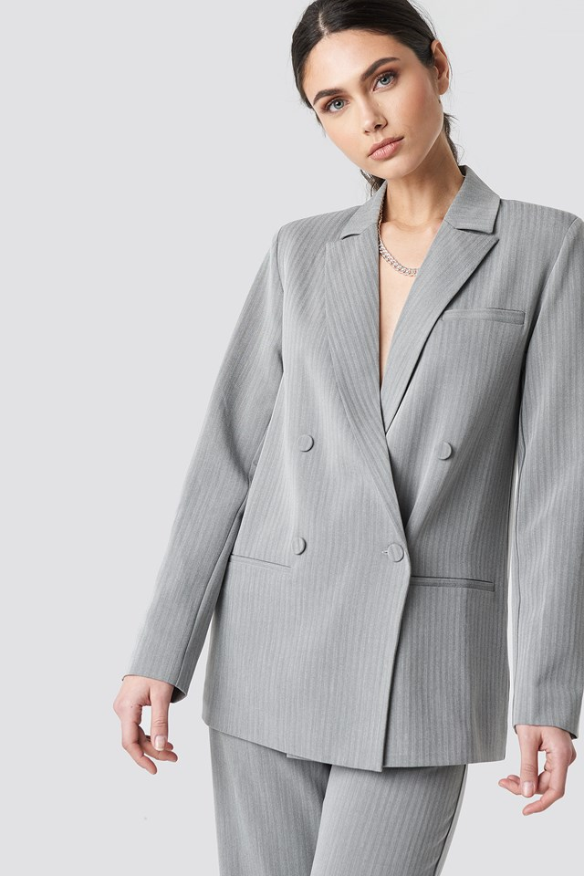 Two Tone Striped Double Breasted Blazer NA-KD Classic
