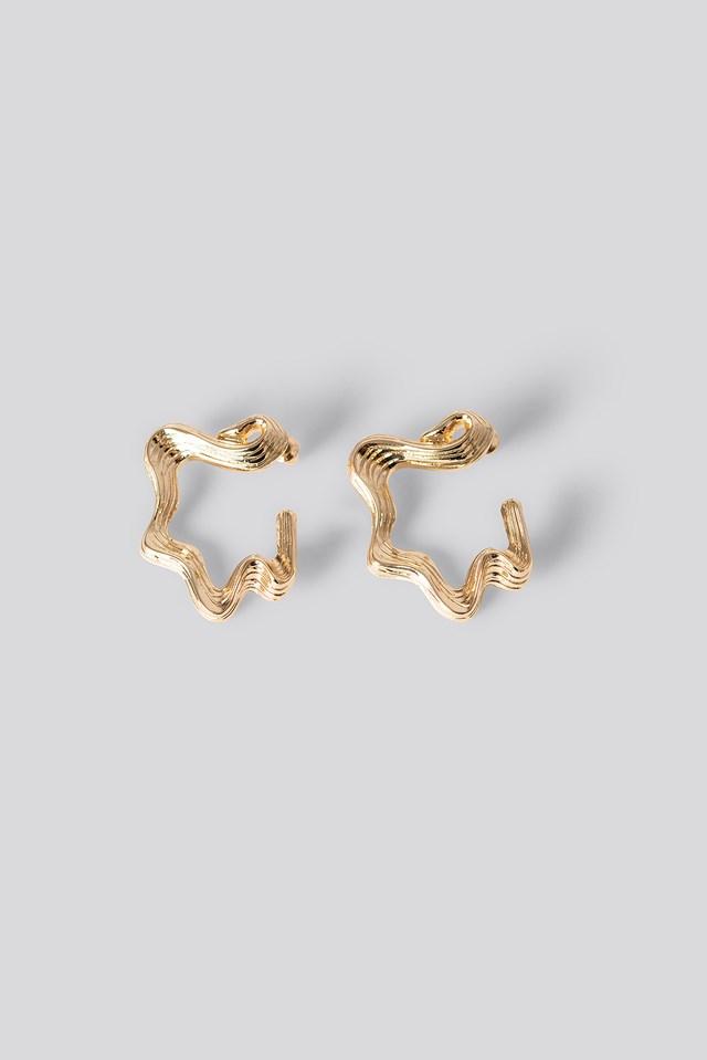 Uneven Wavy Earrings Gold
