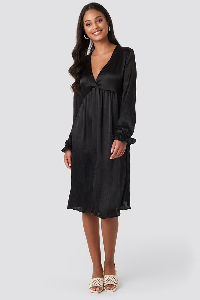 V Front Frill Sleeve Dress Black