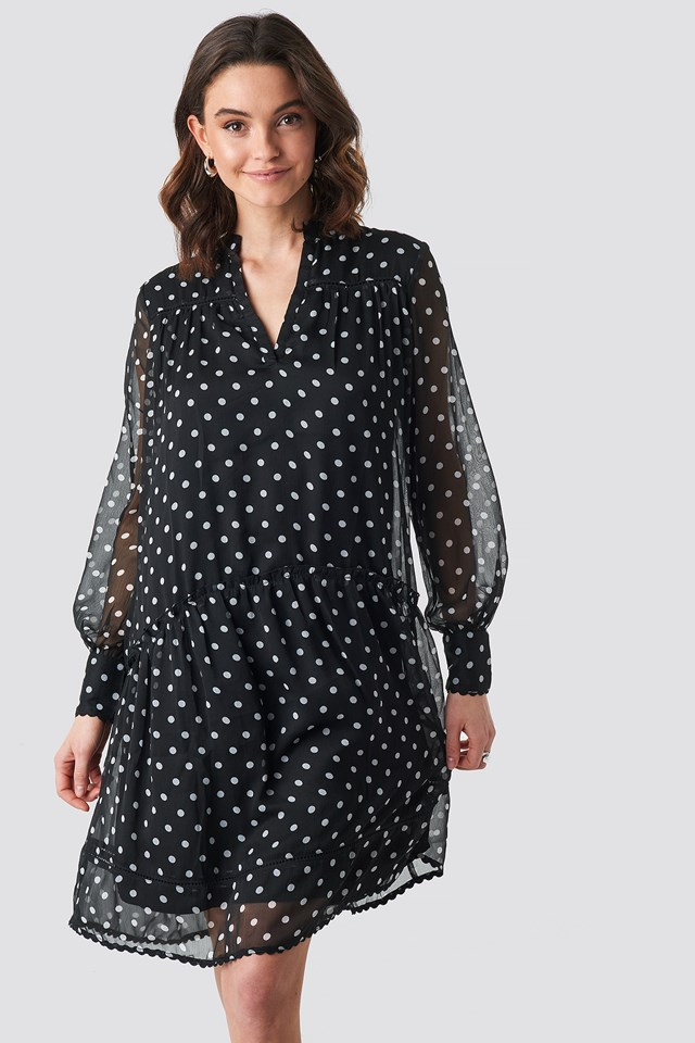 V-Neck Flowy Chiffon Dress Black/White dots