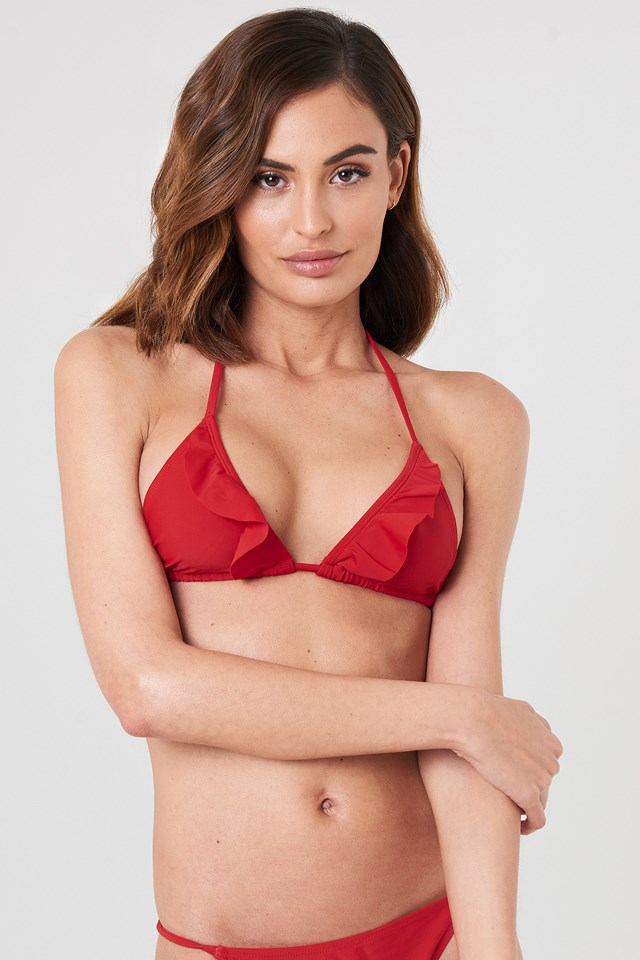 V neck Frill Bikini Top NA-KD Swimwear