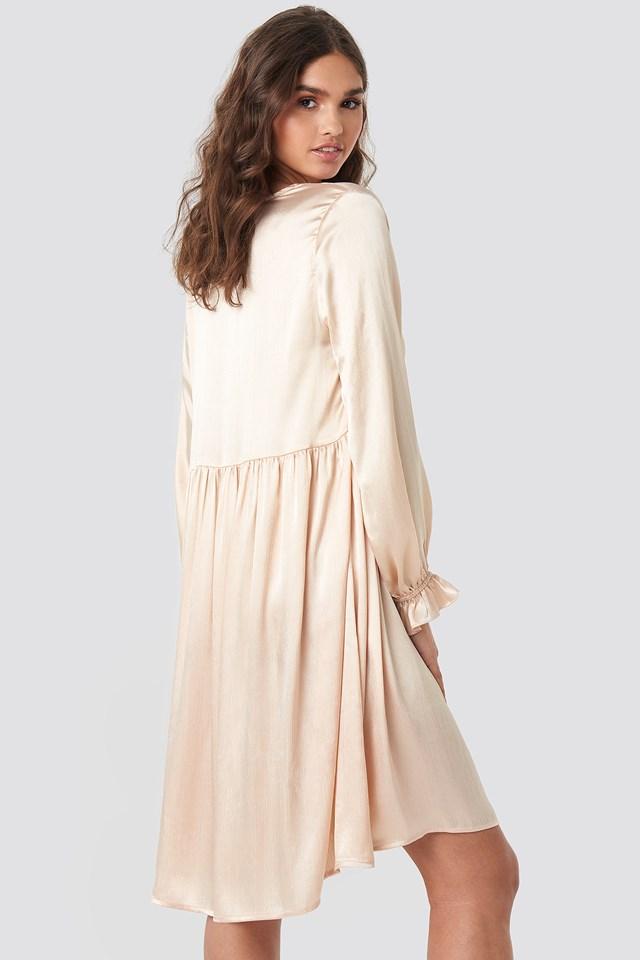 V Front Frill Sleeve Dress Beige