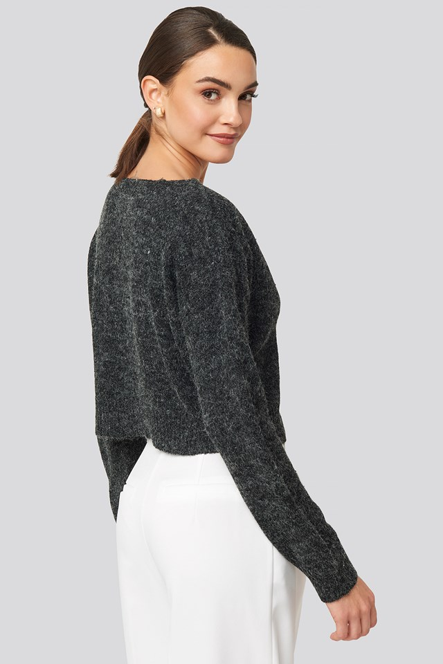 V-neck Cropped Knitted Sweater Dark Grey