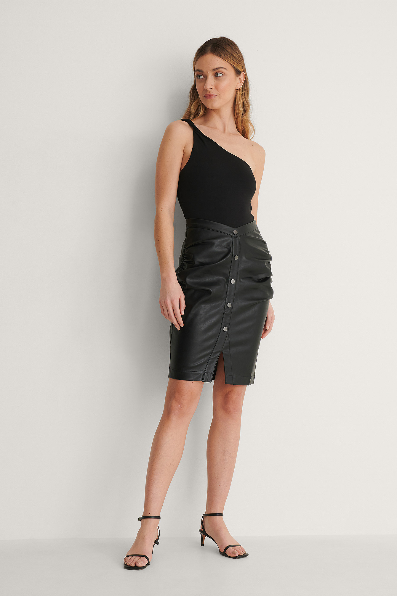 Black V-Shape PU Skirt