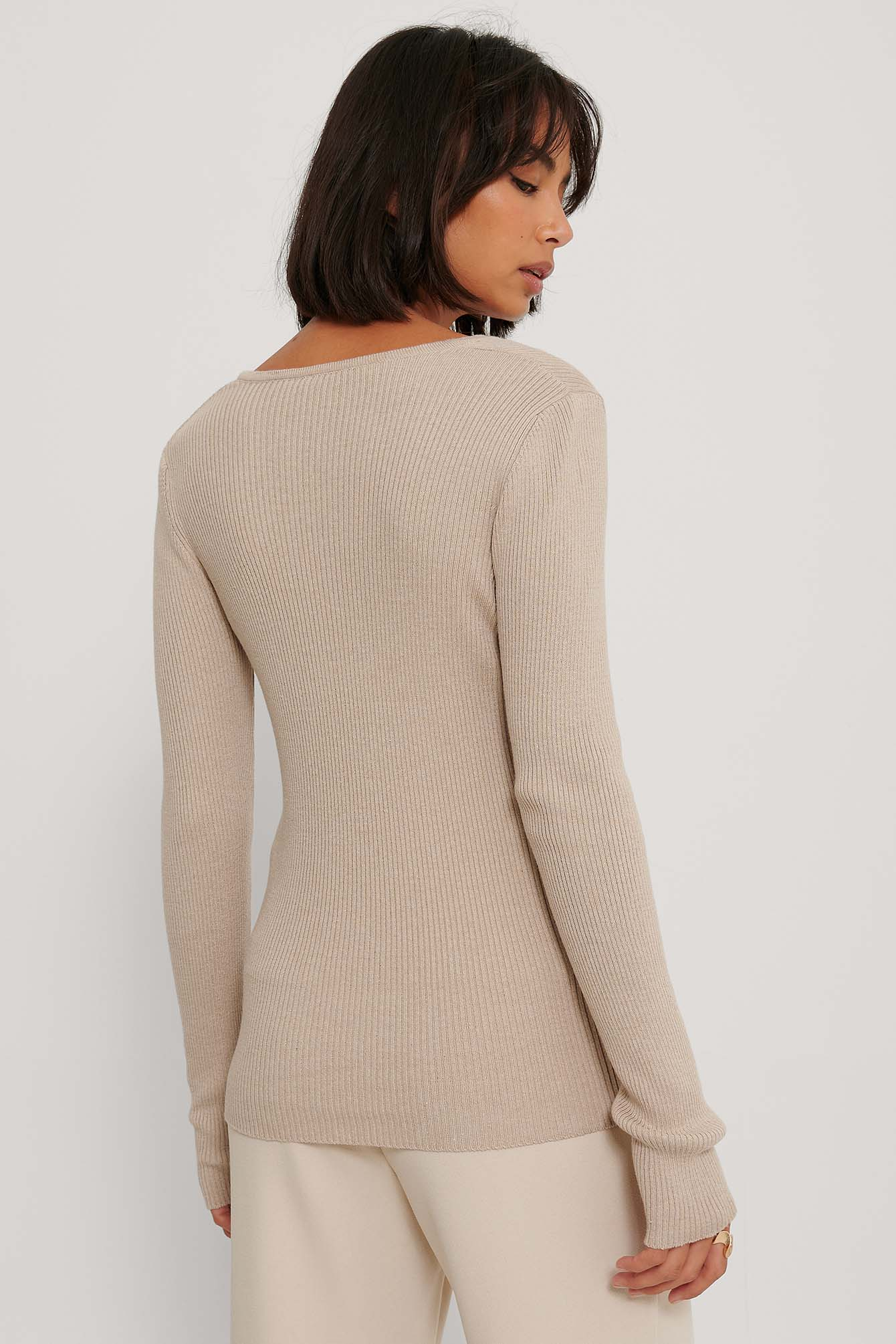 Beige V Detail Light Rib Knitted Sweater