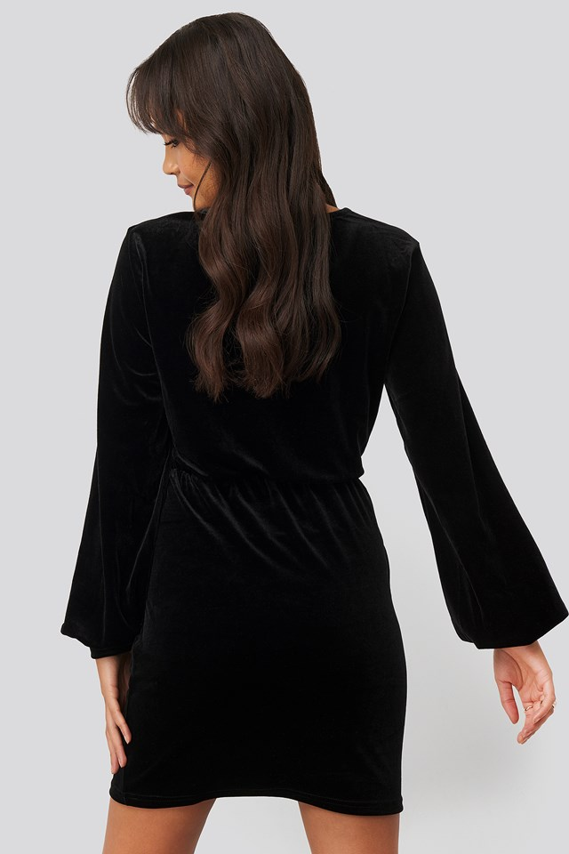Velvet Overlap Mini Dress Black