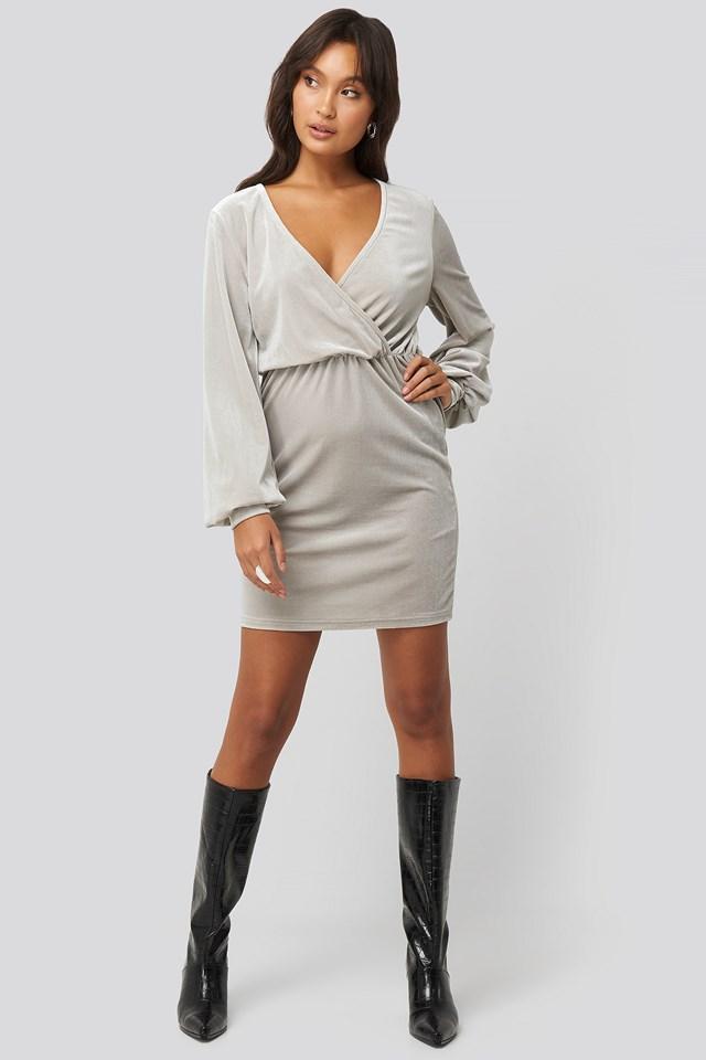 Velvet Overlap Mini Dress Silver