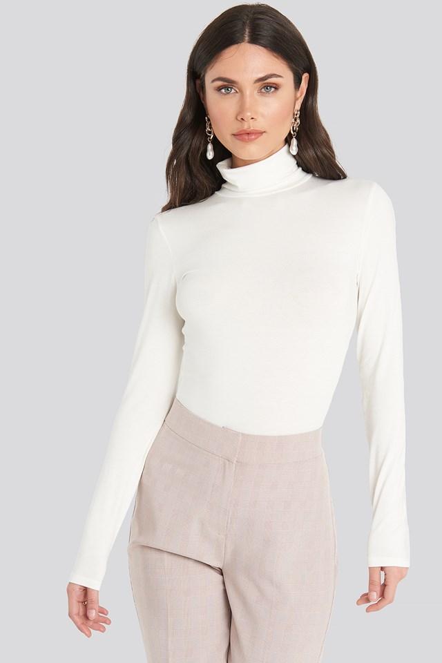 Viscose Long Sleeve Polo Top White