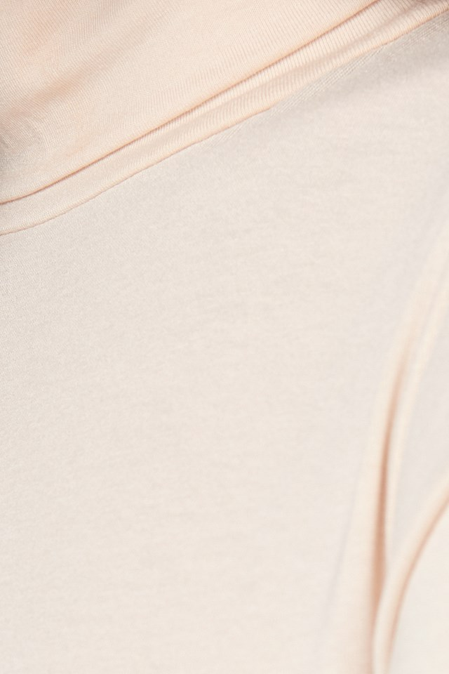 Viscose Long Sleeve Polo Top Light Beige