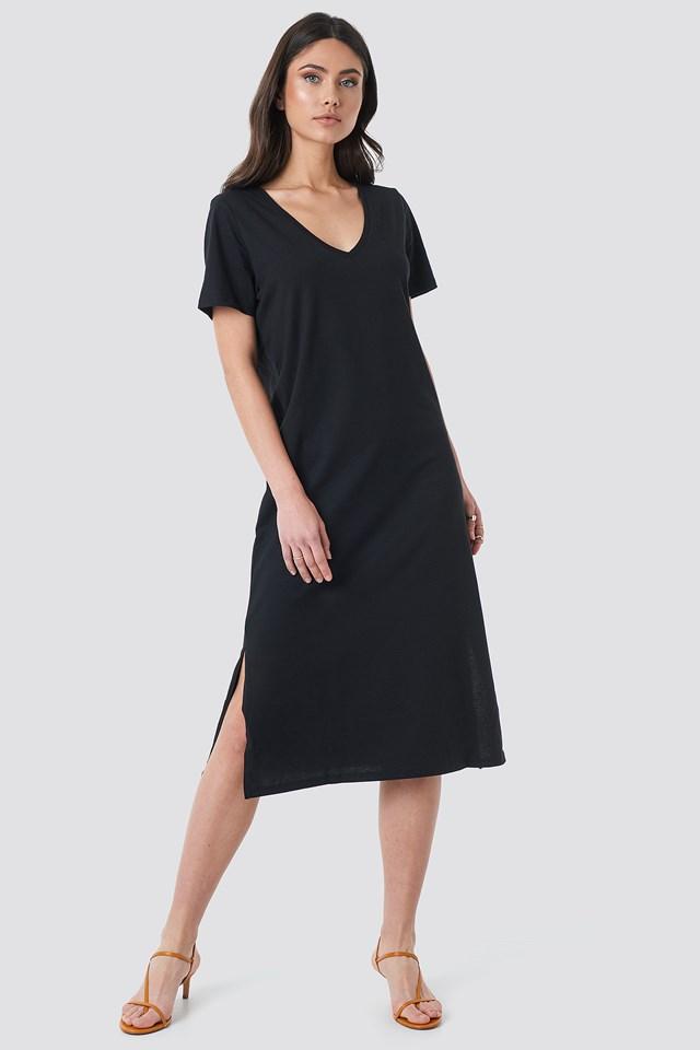V-neck Jersey Dress Black