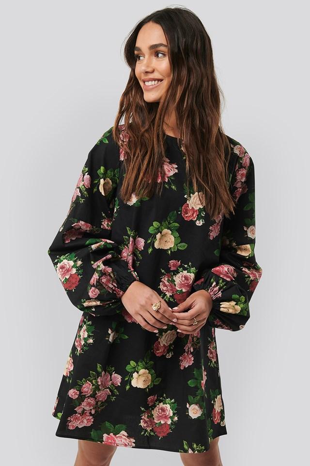 Volume LS Mini Dress Flower Print