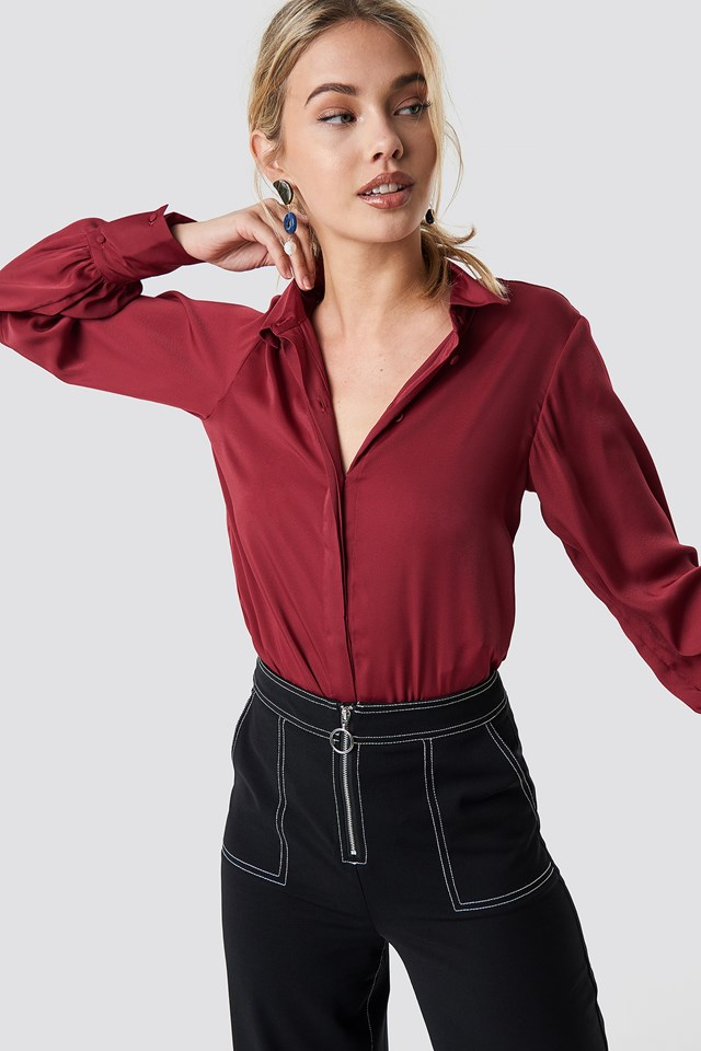 Volume Sleeve Blouse Burgundy
