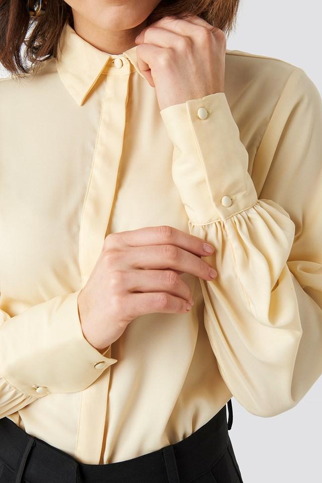 Volume Sleeve Blouse Light Yellow