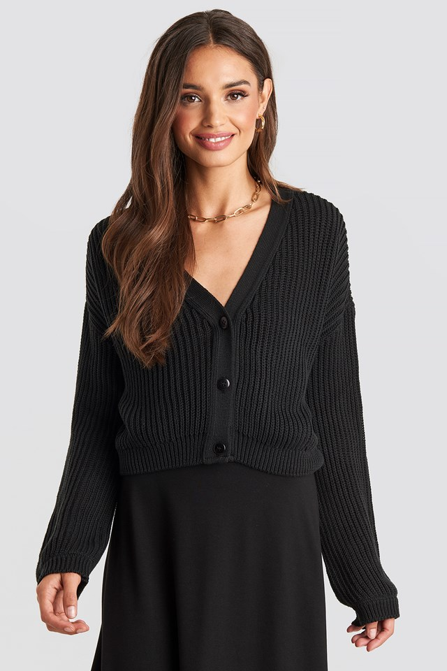 Volume Sleeve Cardigan Black