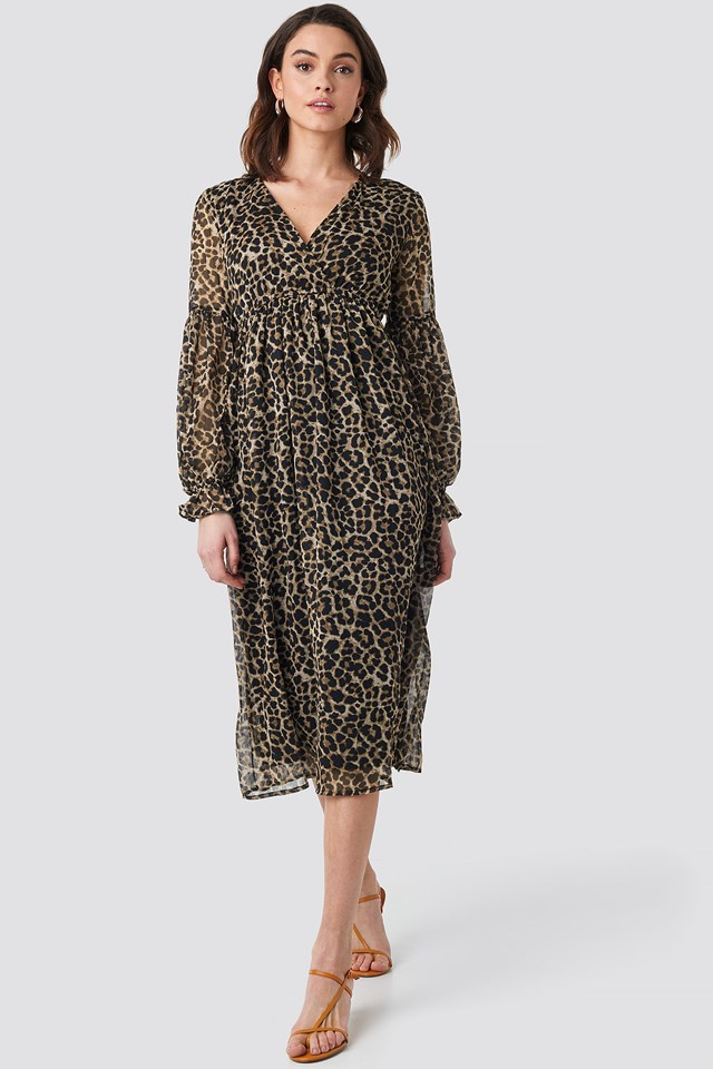 Volume Sleeve Chiffon Midi Dress Leoprint