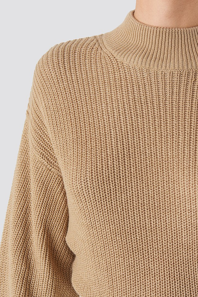 Volume Sleeve High Neck Knitted Sweater Beige