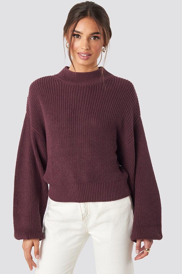 Volume Sleeve High Neck Knitted Sweater Burgundy