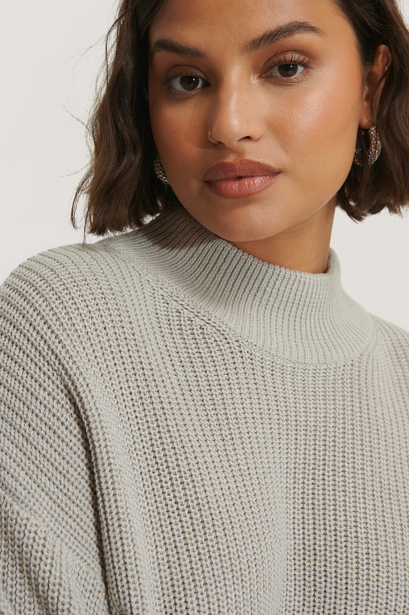 Grey Organic Volume Sleeve High Neck Knitted Sweater