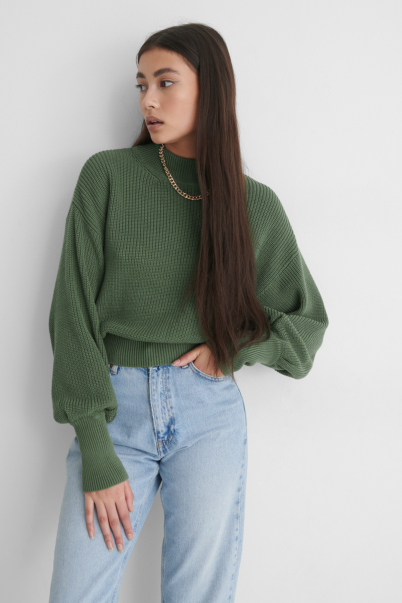 Khaki Volume Sleeve High Neck Knitted Sweater