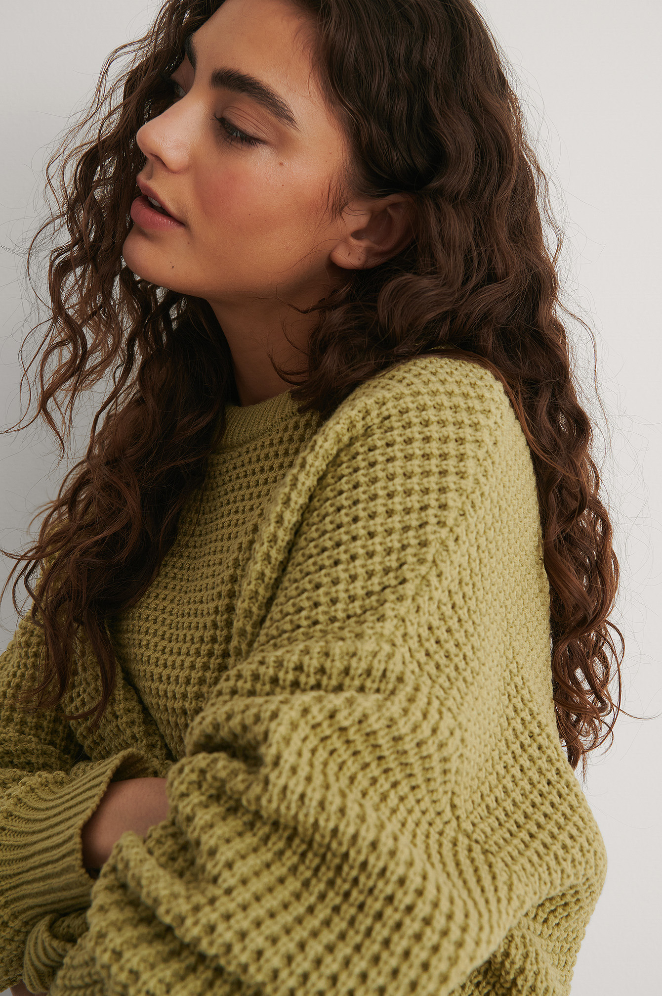 Light Green Waffle Knit Round Neck Sweater