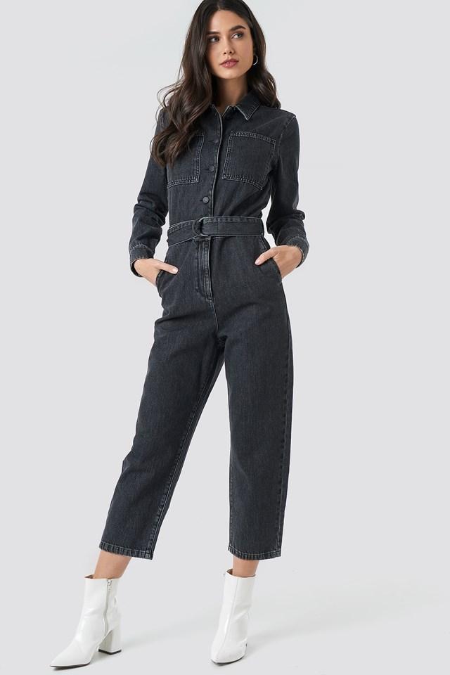 Waist Belt Denim Jumpsuit Black