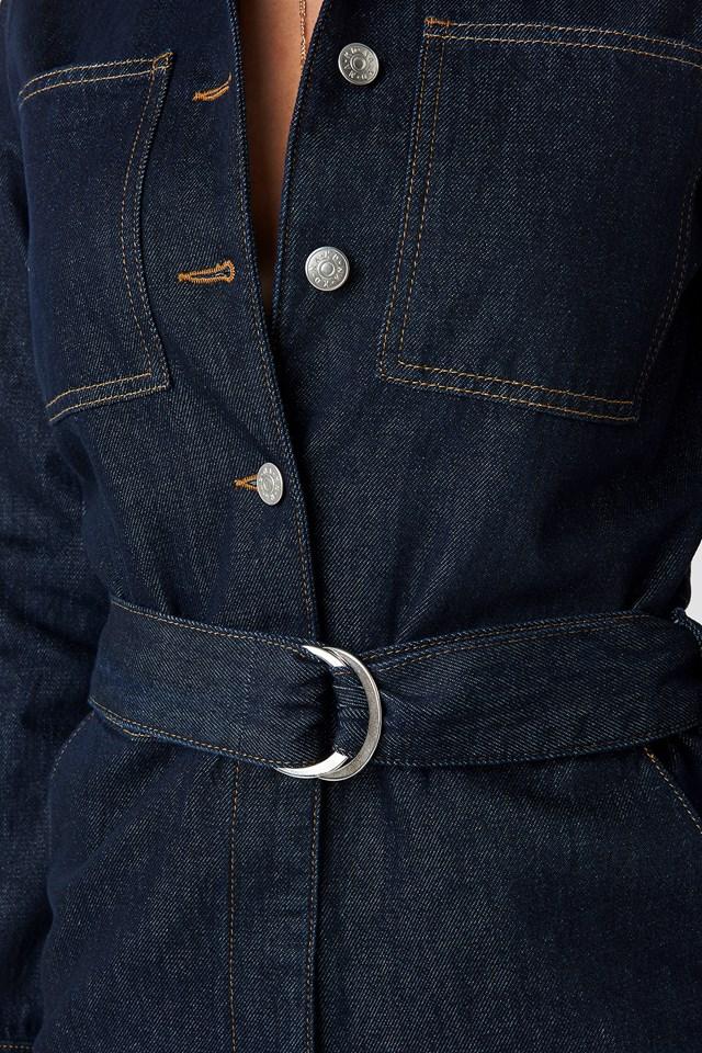 Waist Belt Denim Jumpsuit Indigo Blue