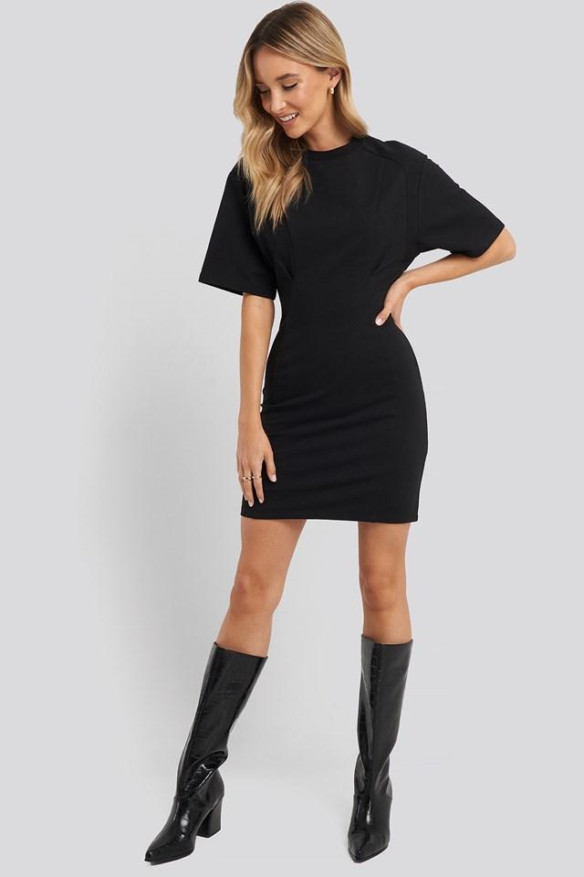 Waist Dart Detail Dress Black