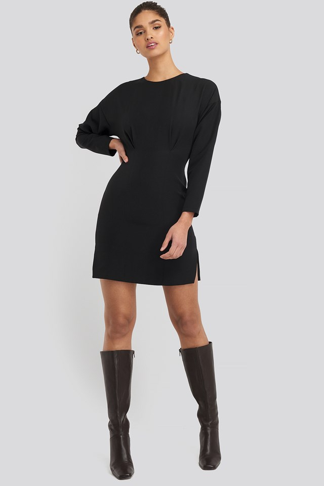 Waist Dart Detail Mini Dress Black