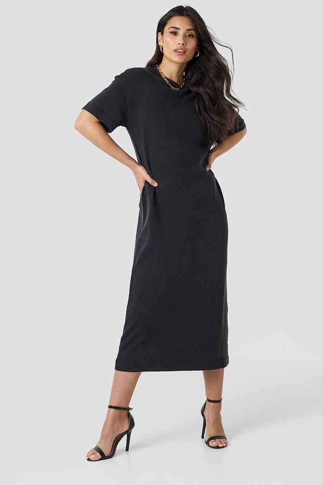 Washed Out Oversize Dress Black