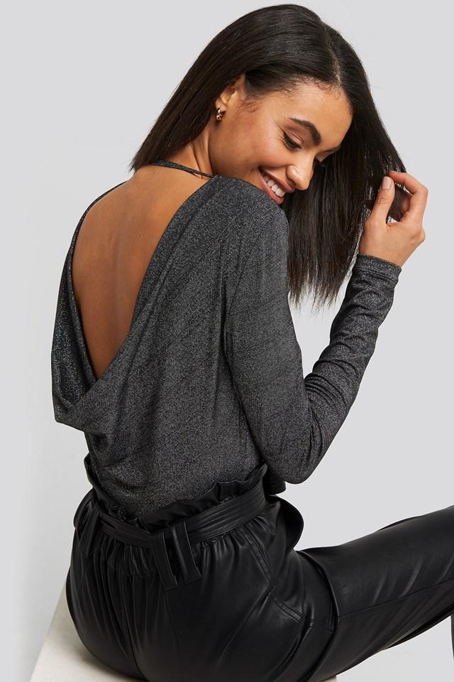 Waterfall Back Lurex Bodysuit Black
