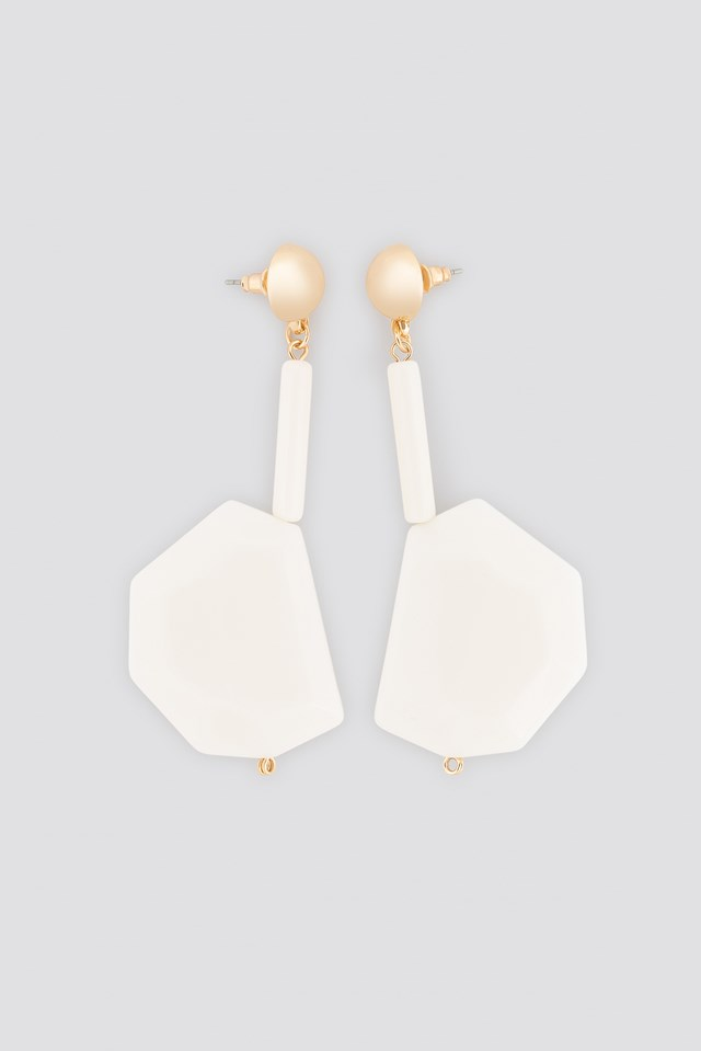 White Stone Drop Earrings White