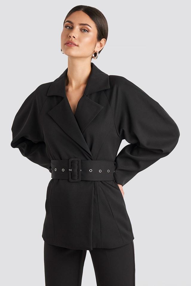 Wide Belt Blazer Black