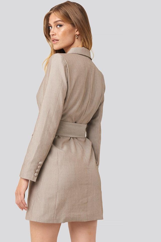 Wide Belt Blazer Dress Light Brown