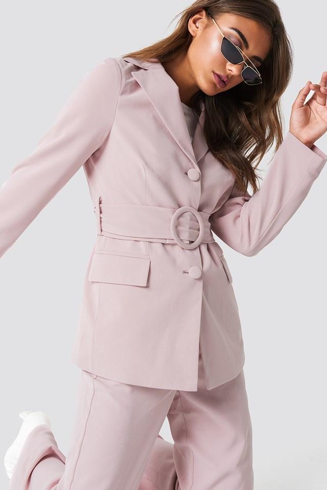 Wide Belted Blazer Dusty Pink