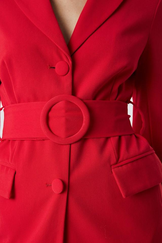 Wide Belted Blazer Red