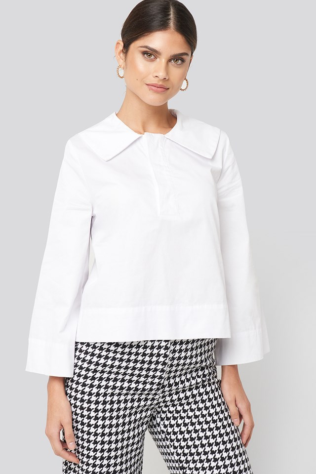 Wide Collar Cotton Shirt White
