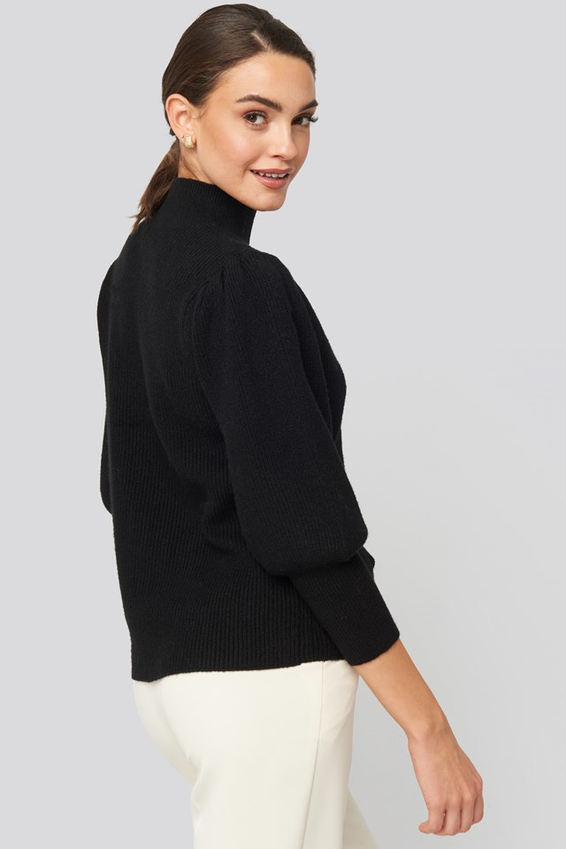Wide Cuff Balloon Sleeve Knitted Sweater Black