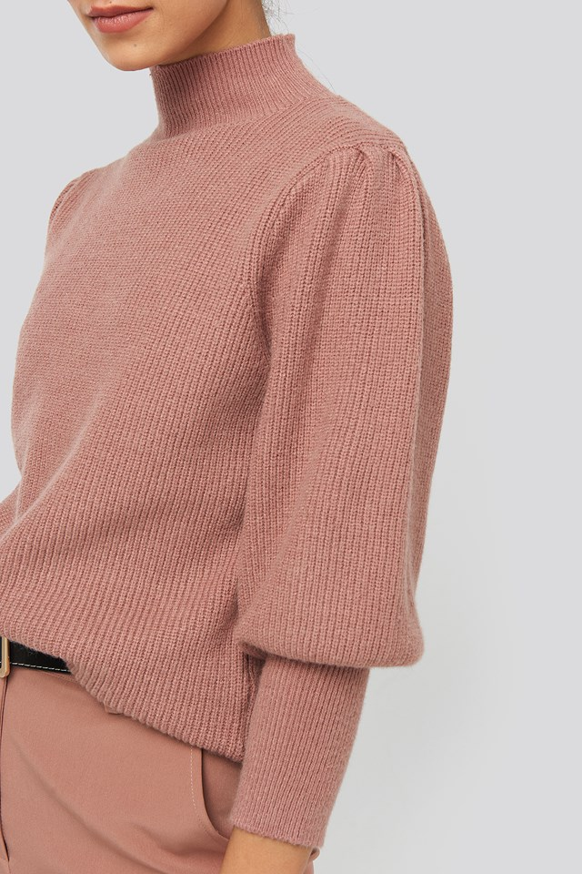 Wide Cuff Balloon Sleeve Knitted Sweater Dusty Dark Pink