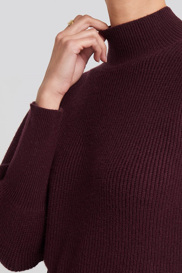Wide Cuff Balloon Sleeve Knitted Sweater Burgundy