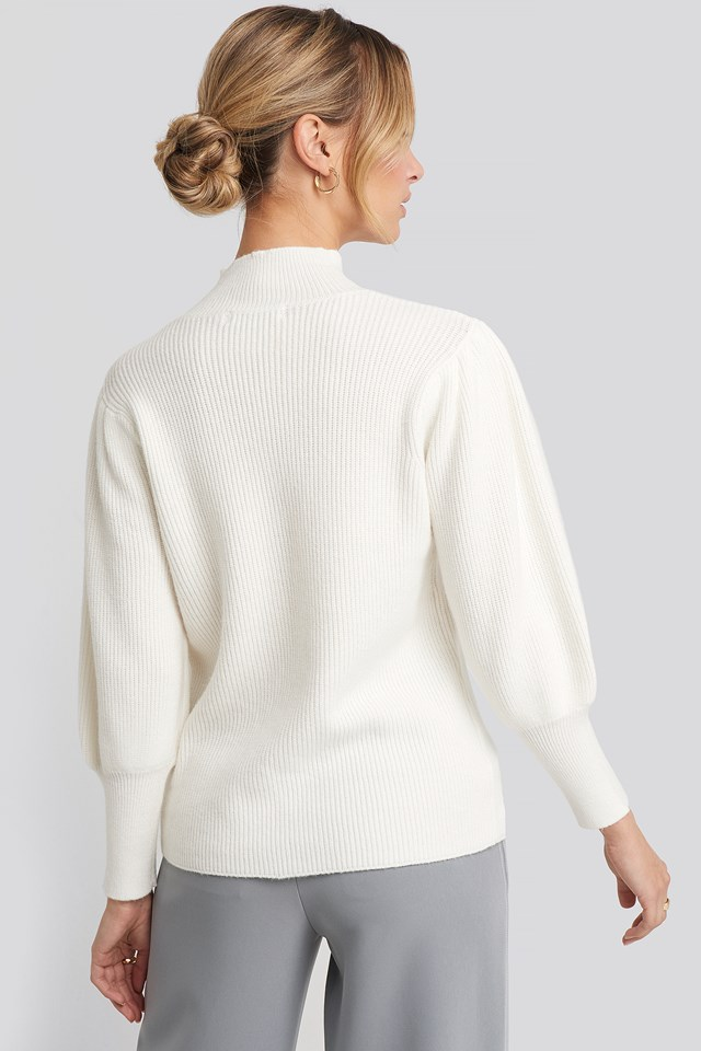 Wide Cuff Balloon Sleeve Knitted Sweater Offwhite
