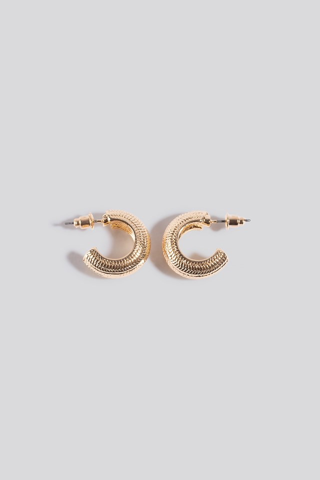 Wide Detailed Hoop Earrings NA-KD Accessories