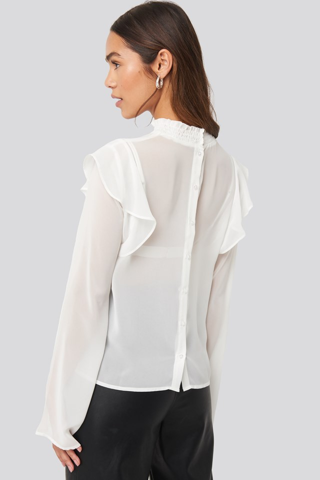 Wide Sleeve Frill Blouse White