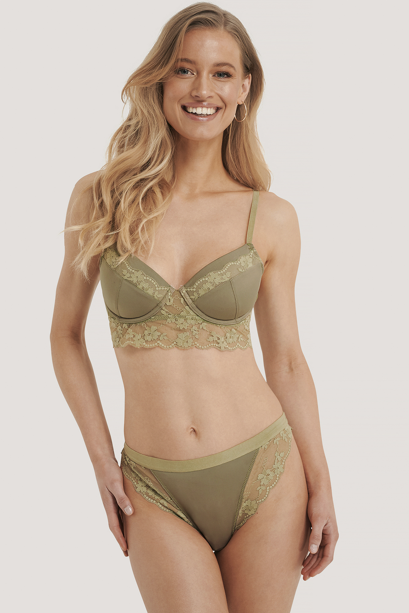 Dusty Green Wide Lace Edge Hipster
