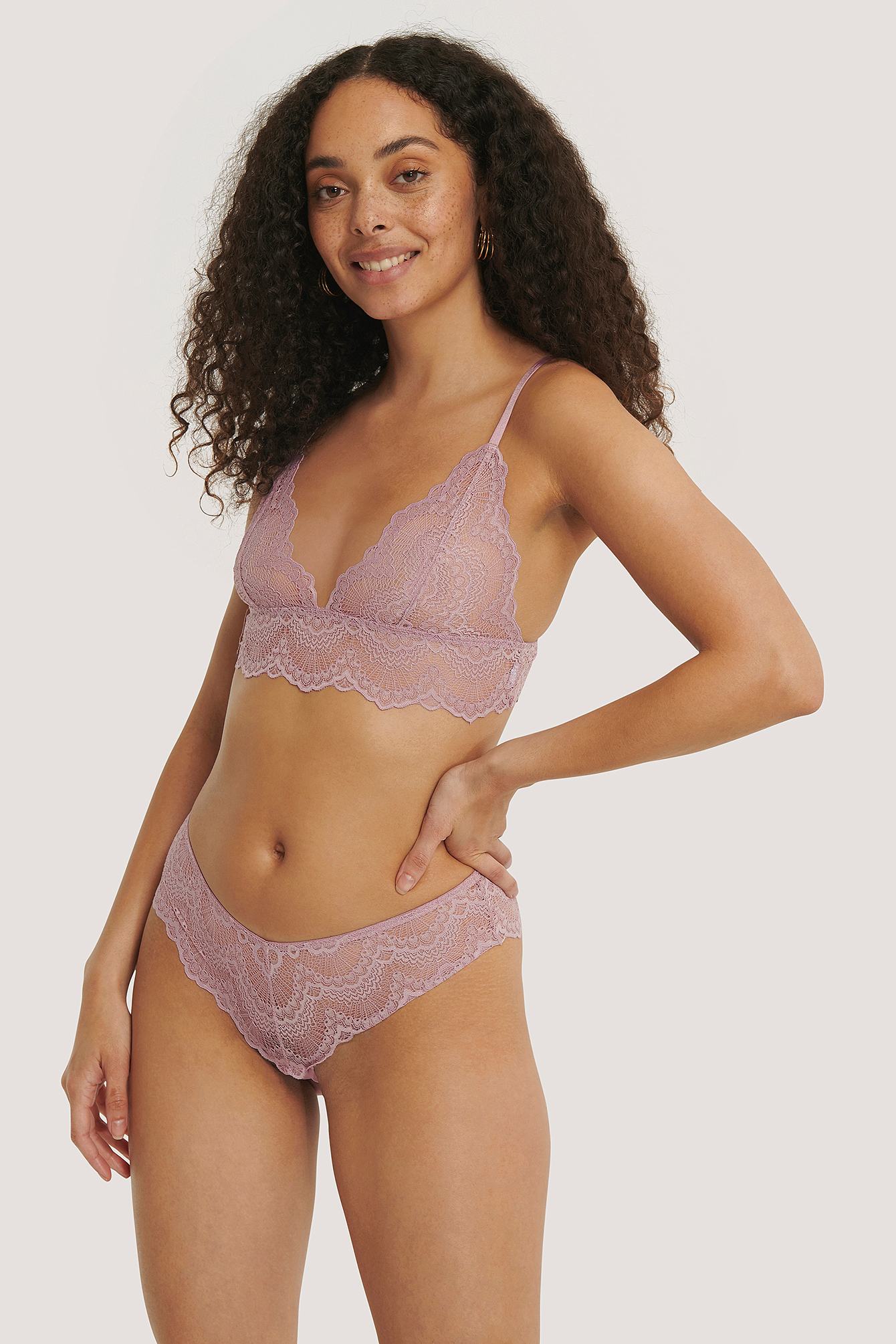 Dusty Purple Wide Lace Hipster
