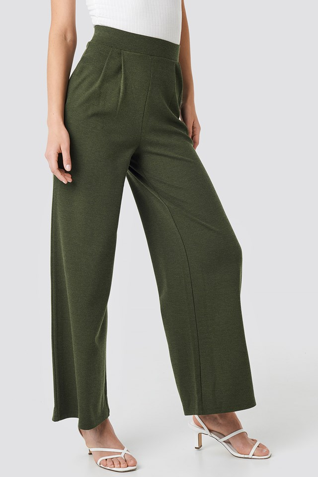 Wide Leg Pleated Trousers Khaki